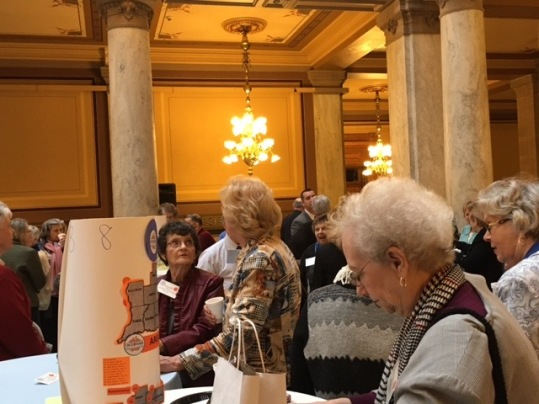 Area 8 tables with retired teachers from Monroe, Brown, and Greene Counties